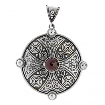 Savati Sterling Silver Maltese Cross Pendant with Garnet