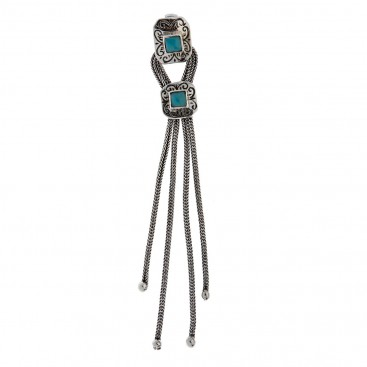 Savati Sterling Silver Byzantine Large Fringed Pendant with Turquoise