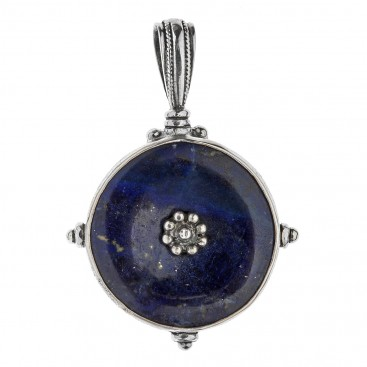 Savati Sterling Silver with Lapis Gemstone Byzantine Large Pendant