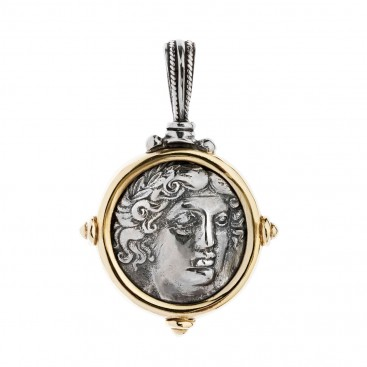 Savati Amphipolis Tetradrachm ~ Sterling Silver & Bronze Coin Pendant with Apollo