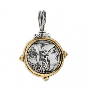 Savati Athena & Nike Stater ~ Sterling Silver & Bronze Coin Pendant
