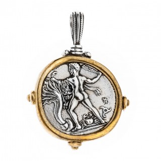 Hercules and Bull - Phaistos Crete Stater ~ Silver & Bronze Coin Pendant