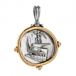 Nike and Poseidon - Macedonian Tetradrachm ~ Savati Silver and Bronze Coin Pendant