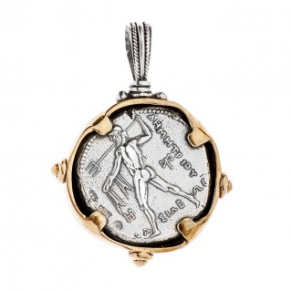 Nike and Poseidon - Macedonian Tetradrachm ~ Savati Silver and Bronze Coin Pendant