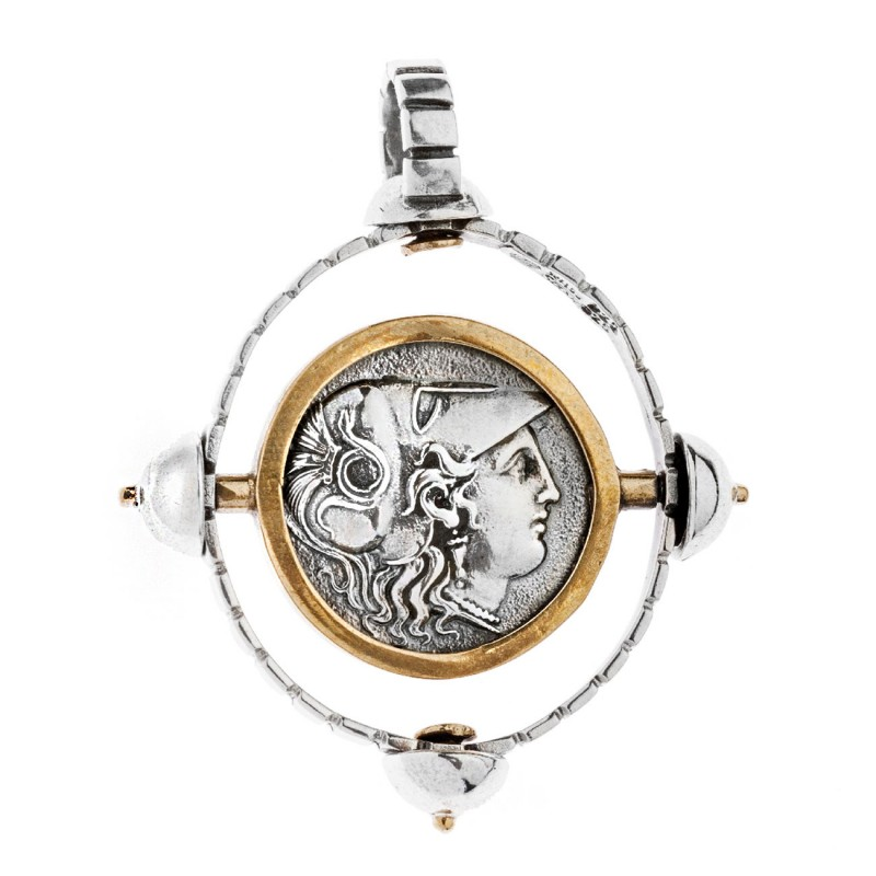 Savati athena and nike stater sterling silver bronze spinning savati athena nike stater sterling silver bronze spinning coin pendant mozeypictures Gallery
