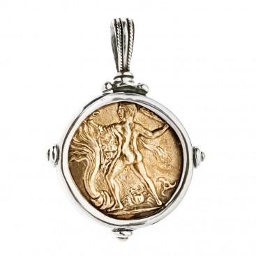 Hercules and Bull - Phaistos Crete Stater ~ Bronze & Silver Coin Pendant