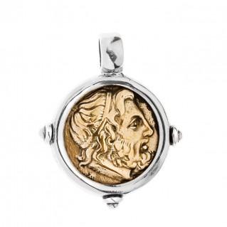 Zeus-Minos and Labyrinth - Knossos Crete Tetradrachm ~ Bronze & Silver Coin Pendant