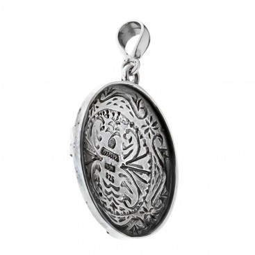 Savati Sterling Silver Round Pendant with Cross
