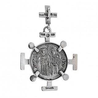 Savati Sterling Silver Byzantine Constantinato Cross Coin Pendant