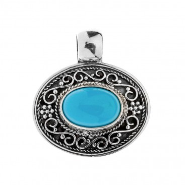 Savati Oval Sterling Silver Byzantine Pendant with Turquoise