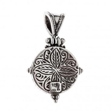 Savati Sterling Silver with Amber Gemstone Byzantine Pendant