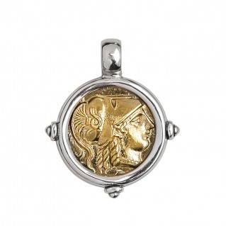 Savati Athena & Nike Stater ~ Sterling Silver & Bronze Coin Pendant