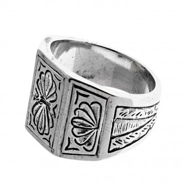 Savati Sterling Silver Tapered Band Ring with Engraved Byzantine Motifs