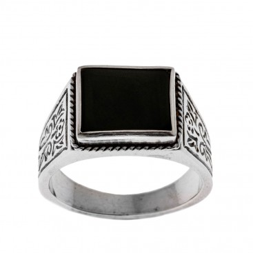 Savati 95 - Sterling Silver Byzantine Men's Ring with Black Onyx