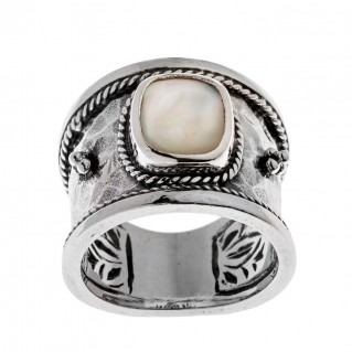 Savati Sterling Silver with MOP Byzantine Band Ring