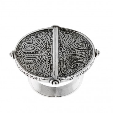 Savati Sterling Silver Byzantine Engraved Large Ring