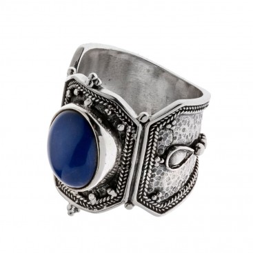 Savati Sterling Silver Byzantine Single Stone Large Ring