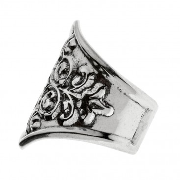 Savati Sterling Silver Byzantine Large Ring with Raised Motifs
