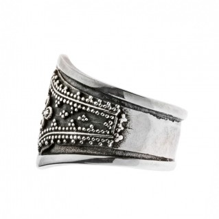 Savati Sterling Silver Byzantine Ornate Large Band Ring