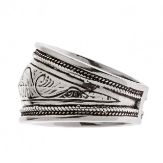 Savati Sterling Silver Byzantine Large Band Ring with Engraved Motifs