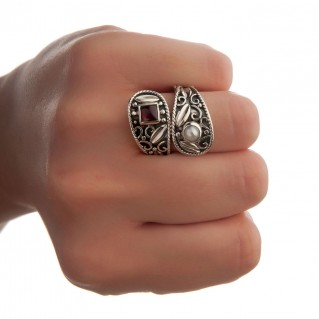 Savati Sterling Silver Byzantine Bypass Wrap Ring with Stones