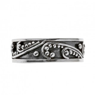 Savati Sterling Silver Byzantine Ornate Band Ring