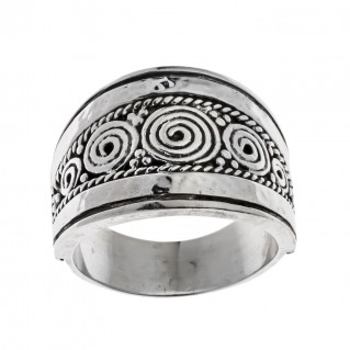 Savati Sterling Silver Spiral Tapered Band Ring