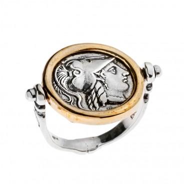 Savati Athena & Nike Stater - Sterling Silver Swivel Flip Coin Ring
