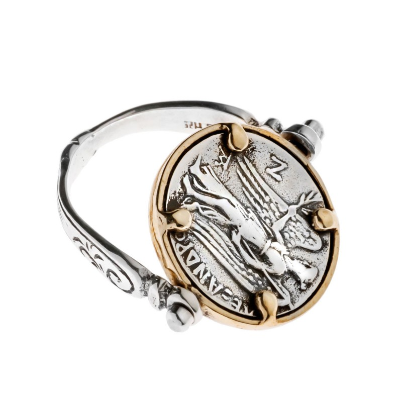 Athena And Nike Stater Silver Swivel Flip Coin Ring Culturetaste