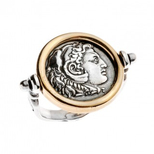 Savati Alexander the Great and Zeus - Sterling Silver Swivel Flip Coin Ring