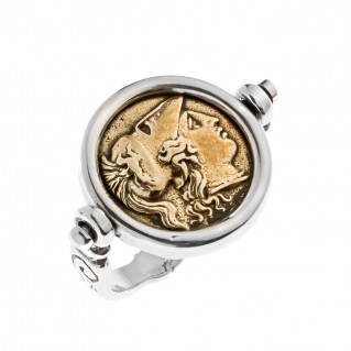 Savati Athena & Nike Pyrrhus Stater - Bronze and Silver Swivel Flip Coin Ring