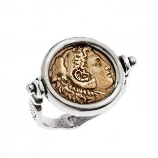 Savati Alexander the Great and Zeus - Bronze and Silver Swivel Flip Coin Ring