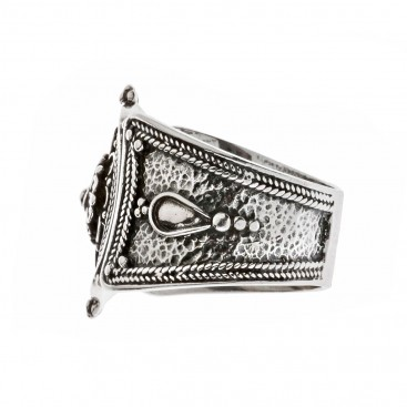Savati Sterling Silver Rosette Large Band Ring