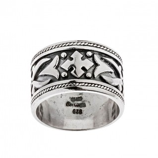 Savati Sterling Silver Large Byzantine Band Ring with Raised Motifs