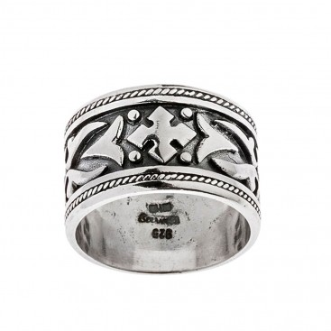 Savati Sterling Silver Large Byzantine Band Ring with Raised Motifs