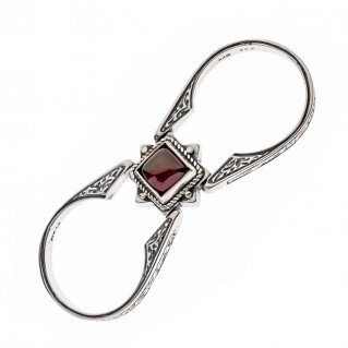 Savati Sterling Silver Pearl and Garnet Swivel Flip Ring
