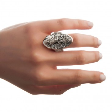 Savati Sterling Silver Byzantine Large Ring with Engraved Motifs