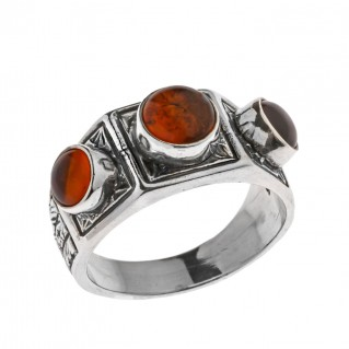 Savati Sterling Silver Multi Stone Byzantine Band Ring with Amber