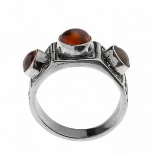 Savati Sterling Silver Multi Stone Byzantine Band Ring with Amber