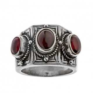 Savati Sterling Silver Multi Stone Byzantine Band Ring