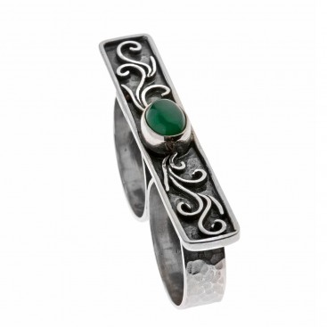 Savati 142 - Sterling Silver Ornate Two Finger Ring