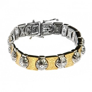 Savati 22K Solid Gold & Silver Byzantine Bangle Bracelet
