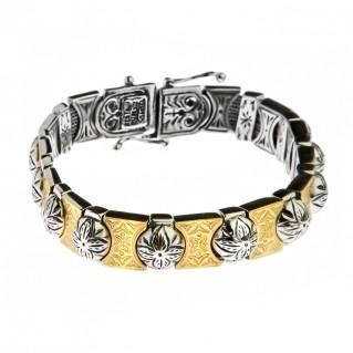 Savati 22K Solid Gold & Silver Byzantine Bangle Bracelet