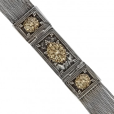 Savati Solid Gold & Sterling Silver Multi Chain Byzantine Bracelet