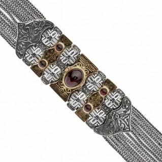 Savati Solid Gold & Sterling Silver Byzantine Multi Chain Bracelet