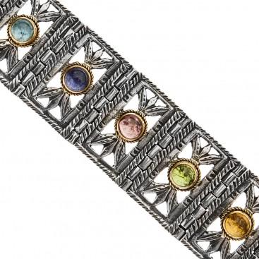 Savati Solid Gold & Silver Multi-Stone Byzantine Link Bracelet
