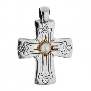 Savati Solid Gold & Sterling Silver Byzantine Cross Pendant