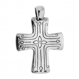 Savati Solid Gold & Sterling Silver Byzantine Cross Pendant