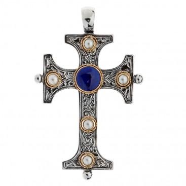 Savati Solid Gold & Silver Byzantine Large Cross Pendant