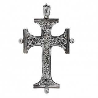 Savati Solid Gold & Silver Byzantine Large Cross Pendant